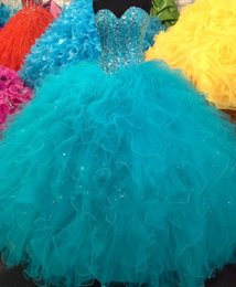 Wholesale Girls Dresses 15 Years - 2016 New Real Image Quinceanera Dresses Sweetheart Beading Ruffles Ball Gown 15 Year 16 Sweet Girls Princess Prom Party Gowns Custom Made