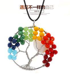 Wholesale Natural Diamonds Jewelry - Fashion 7 Chakra Crystal Stone Tree Of Life Pendants Reiki Healing Charm Jewelry Natural Stone Pendant For Women