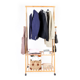 Wholesale rack wheels - 2-Layer Portable Practical Storage Clothes Bamboo Rack Hanger Storage Shelf with Wheels Wood Color