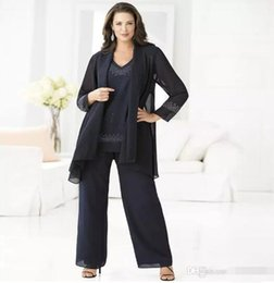 Wholesale Mother Groom Outfits - Cheap Navy Mother Of The Bride Pant Suits Elegant 3 Piece Plus Size Chiffon Pant Suit 2017 Cheap Groom Mother Wedding Outfits Dress