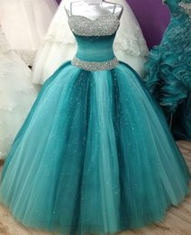 Wholesale Puffy Photo - 2017 Stunning Puffy Prom Dresses Spaghettis Straps Beaded Long Party Dresses Junior Sweet Sixteen Quinceanera Dresses Custom Made