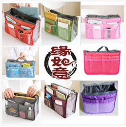 Wholesale Purse Organizer Liner - 2017 hot 14Colors Women Lady Travel makeup bag Insert Handbag Purse Large liner Tote Organizer Dual Storage Amazing make up bags