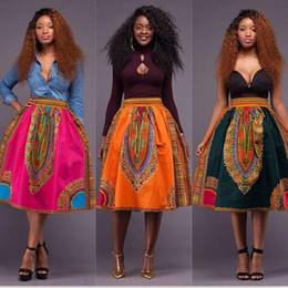 Wholesale Geometric Skirts - 2017 New Style African Womens Skirt Girl Printed Dashiki Asymmetrical hight Waist Skirt Traditional wax print batik pure cotton skirt