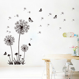 Wholesale Fly Backgrounds - Black Dandelion Butterfly Wall Stickers Romantic Living Room Sofa Background Wall Decor Wallpaper Poster DIY Home Decoration Flying Flowers