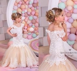 Wholesale Sleeves For Wedding Gowns - Pretty Champagne Lace Flower Girls Dresses Mermaid Off Shoulder Ruffles Puffy Tulle Capped Sleeves First Communion Pageant Gowns for Kids