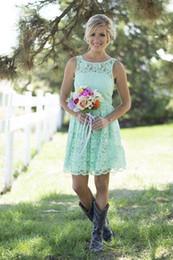 Bateau Lace Junior Brautjungfernkleider Günstige Mint Green Blue Short Party Kleider Sommer Frühling Für Hochzeit Trauzeugin Cabrio Kleider von Fabrikanten
