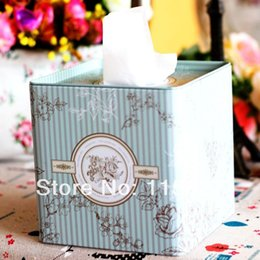 Wholesale Blue Napkins Paper - Wholesale- Free Shipping!Light Blue flower Classical design Facial paper case Tissue Box Metal square Napkin Holder Flower Bottle