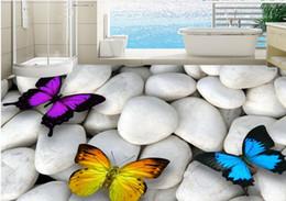 ciottoli bianchi Sconti Adesivo per pavimento 3D farfalla bianca ghiaia Pavimento per camera da letto per bambini