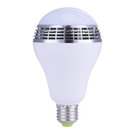 Wholesale E27 Led Remote Base - Smart LED Bulb Bluetooth Speaker LED RGB Light E27 Base Wireless Music Player with APP Remote Control.