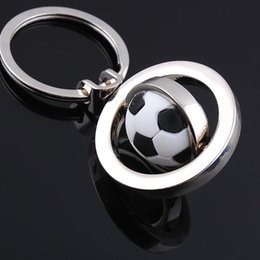 Wholesale Rotating Keychain - New Design Rotating Football Keychain Men Mini Rotatable Ball Key Chains chain key rings keyring novelty promotion gift DHL024
