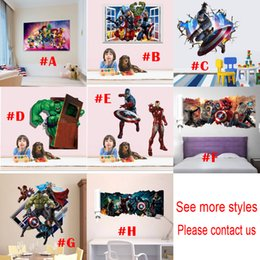 Wholesale Avenger Decals - Mix Wholesale 3D Avenger Marvel Wall Stickers Decorative Captain America Wall Decal Cartoon Wallpaper Kids Party Decoration Free Shipping