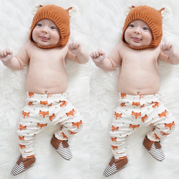 Wholesale Printed Trousers Casual - 2016 casual boy girl pants Infant Baby Boys Girls Cotton Clothes fox logo printed Long Trousers Cute Kids high quality children top Bottoms