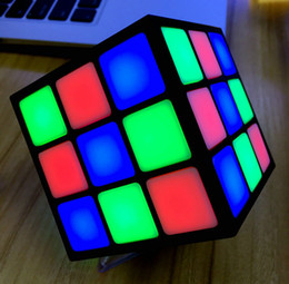 Wholesale Mini Cube Stereo Speakers - 2016 Newest Magic Cube 36 LED Lights Flashing Colorful Music Bluetooth Mini Speaker Portable Stereo Music Bluetooth Speakers with TF Card