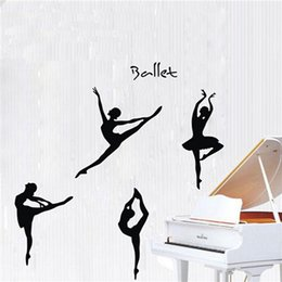 Wholesale Ballet Home Decor - DIY Hot Sale!! Large 4 Set of Ballet Dancing Dancer Removable Decal Home Decor Wall Sticker Excellent Quality