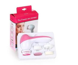 Wholesale Skin Scrubbers - 5 In 1 Electric Facial Cleaner Face Cleansing Brush Skin Care Brush Beauty Care Massager Scrubber DHL 100pcs