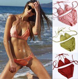 Wholesale Highest Quality Brazilian Bikinis - 2016 New Bikini Brazilian Triangle Bikini Sexy Halter Swimwear Triangle swimwear for women Vintage Simple Noble Swimsuit High Quality D605 1
