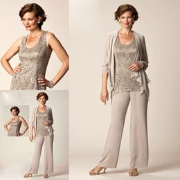 Wholesale Elegant Casual Pants Suits - Elegant Lace Mother Of Bride Pant Suit Sleeveless Casual Mother Formal Wear Plus Size Special Occasion Three Pieces Mothers Pantsuit