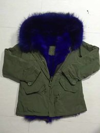 Wholesale Ladies Rabbit Fur Coats - Mr & Mrs Furs Blue Raccoon Fur hood Lined with rabbit fur Ladies Green jacket women coats