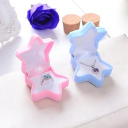 Wholesale Necklace Earring Gift Case - Ring boxes stud earrings box pink color starfish Jewelry necklace pendant Box Packing Gift Box Jewelry packing case