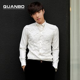 Wholesale Gauze Breast - Wholesale- QUANBO 2017 winter double embroidered gauze Korean Slim influx men and men's long-sleeved shirt and groom wedding dress shirt