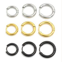 Wholesale Wholesale Small Silver Crosses - Gold Silver Black 316L Brand New Stainless Steel Round Hoop Earrings Korean Cute small Circle Ear Jewelry