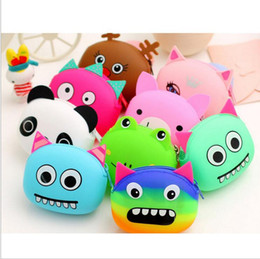 Wholesale Silicone Wallet Zipper - Hot Silicone Purse Lovely Kawaii Candy Color Cartoon Animal Women handbags Girls Wallet Multicolor Jelly coins Purses Kid Christmas Gift