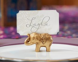 Wholesale Bridal Shower Cards - 10Pcs lot Golden Gold Lucky Elephant Place Card Holder Photo Holder Wedding Bridal Shower Favors and Gift Free shipping