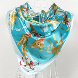 Wholesale China Shawls Wholesale - China Style Women Silk Polyster Scarf Shawls Printed Sky Blue Satin Big Square Scarves Fashion Handkerchief Floral Pattern Scarf