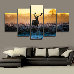Wholesale Group Oil Paintings - 5 Piece HD Printed African sunset deer Group Painting Canvas Print room decor print poster picture canvas home decoration