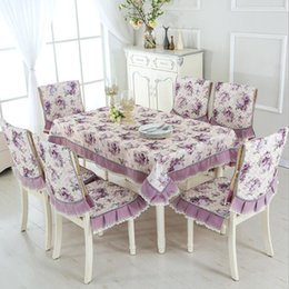 Wholesale Tablecloth Setting - 13pcs set Pastoral Beautiful Rose Design Table Cloth Set Chair Cover Cusion Tablecloth Polyester Cotton Flower Print Table Cover