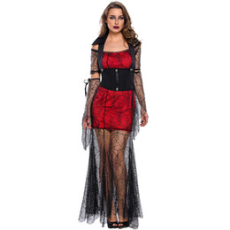 Wholesale Woman Vampire Sexy Costume - Red Black Gothic Sexy Costume Fantasias Femininas Halloween Halloween Fantasy Cosplay Adult Fancy Dress Costume Vampire Cosplay Dress