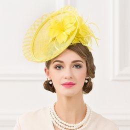 Wholesale Top Hat Cocktail - Yellow Women's Bow Feather Net and Veil Fascinator Cocktail Party Hair Clip Hat Women Small Top Hats Occasion Hat Kate Middleton Hat 2017