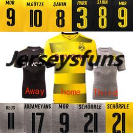 Wholesale Shirt Drop Shipping - 2017 2018 Thailand Borussia soccer jersey AUBAMEYANG GOTZE MOR KAGAWA REUS home away football SAHIN shirts Drop shipping