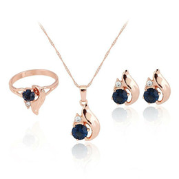 Wholesale Solid Gold Necklace Gemstones - Bridesmaid Jewelry Set Solid Gold Earrings Necklace Ring sets Pendants Swarovski Crystal Jewelry Gemstone Rings Jewellery Party Jewelry Set