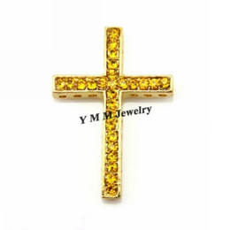 Wholesale Connector Sideways Charm - Gold Sideways Cross Rhinestone Connectors Crystal Charm Bead Bracelet Connector 25x35mm For DIY 20pcs lot Free Shipping