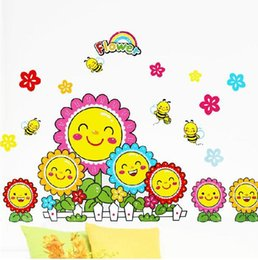 Wholesale Sunflower Vinyl Wall Art - A generation of fat -bedroom living room sofa bed dormitory wall stickers XY8015 smile sunflower sunflowers