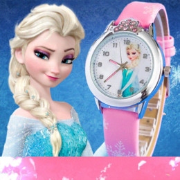Wholesale Anna Limited - 2016 New relojes Cartoon Children Watch Princess Elsa Anna Watches Fashion Kids Cute relogio Leather quartz WristWatch Girl Gift