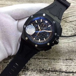 Wholesale Chronograph Rubber - 2017 New Listed Luxury Brand Mens Watch Top Quality Royal Oak Black Dial VK Quartz Movement Chronograph for Black Rubber Strap Men Watches
