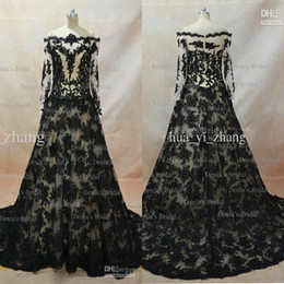 Wholesale Zuhair Dresses - Real Image 2017 Lace Evening Dresses Inspired By Zuhair Murad A Line Transparent Neckline Long Sleeves Black over Nude Evening Gowns