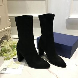 Wholesale Cheap Chunky Heel Boots - Luxury Design Women's Black Silk Tube Boots,Pointed Toe Chunky Heel Sheepskin 90mm Fashion Ankle Boots,Cheap Fashion Knight Boots SZ:34-39