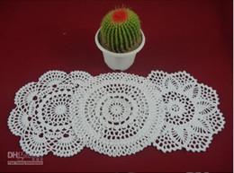 Wholesale Doilies Round Cotton - wholesale 100% cotton hand made crochet doily table cloth 3 designs 11 colors custom cup mat round 20-21cm crochet applique 30PCS LOT zj003
