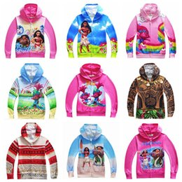 Wholesale Troll Wholesale - 18 Designs Sweatshirts Boys Clothing Moana Jacket Kids Hoodies Girls Trolls Children Cartoon Autumn Clothing Zipper Outwear CCA6896 50pcs