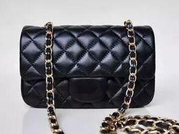 Wholesale Designer Lambskin Handbags - High Quality Luxury designer 20CM Quilted Chain Bag Real Lambskin Leather Classical Mini Single Flap Evening bag WOC handbag