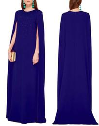 Wholesale Chiffon Embellishments - 2016 jewel neckline crystal embellishment caftans arabic evening dresses Dubai Kaftan Abayas muslim evening gowns islamic clothing