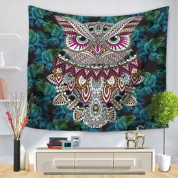 Wholesale Colorful Bedspreads - Wall Tapestry Colorful Floral Owl Bird Print Hanging Carpet Blanket Polyester Indian Bedspread Tablecloth Boho Hippie Towel Yoga Mat 2 Sizes