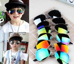 Wholesale Kids Girls Aviator Sunglasses - fashion Boys Kids Sunglasses Aviator Style Brand Design Children Sun Glasses UV Protection sunglass 8 COLOR KKA3333