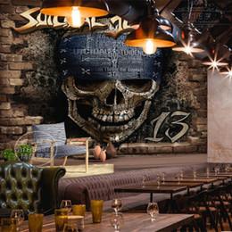 Skull mural, cool wallpaper 3d soggiorno sala da pranzo sfondo retrò personalità tre grandi murales 3d da