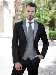 Wholesale Mens Formal Morning Suits - Wholesale- New Black Groom Wedding Party Suit Gray Peaked Lapel Mens Morning Formal Business Party Dress Slim Fit Blazer(Jacket+Pants+Vest)