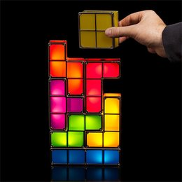 Wholesale Top Toys China - Top 100% Original brand Tetris Stackable LED Desk Lamp,Novelty Tetris Light Retro Game Tower Blocks Cool Night Light Building block DIY toys