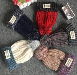 Wholesale Knitted Hats Big Ball - Boys Girls Kids Big Ball Knit Beanie Hat Ski Crochet Cap Winter Soft Warm Ear Muff colorful 3Y-12Y Children Christmas hats